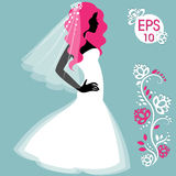 Panna młoda w krótkiej biel sukni Ślubna moda Obraz Stock