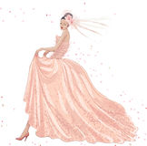 Panna młoda w menchii sukni Zdjęcie Stock