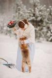 Panna młoda w zimie bawić się z psem Zdjęcie Royalty Free