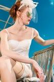 Panna młoda z przesłoną i bielizna dla poślubiać Zdjęcie Royalty Free