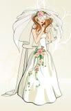 Panna młoda z różami ilustracja wektor