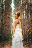 Panna młoda z tatuażem na tle liście i lasowy backlight Obraz Stock