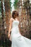 Panna młoda z tatuażem na tle liście i lasowy backlight Zdjęcia Stock