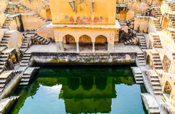 Panna Meena stair well, Rajasthan, India. The walls of the well, covered by criss cross stairs Royalty Free Stock Image
