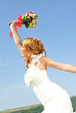 Panna młoda macha kolorowego posy Obraz Royalty Free