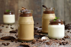 Pannacotta in a jar in two variations. Royalty Free Stock Photography