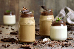 Pannacotta in a jar in two variations. Royalty Free Stock Photo