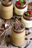 Pannacotta in a jar in two variations. Royalty Free Stock Image