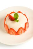 Pannacotta with strawberry. Italian cream dessert with strawberry royalty free stock photo
