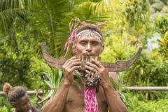 Pannaflöjtmusiker Solomon Island, South Pacific hav Royaltyfri Foto