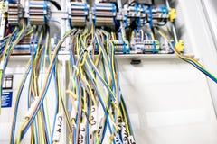 Panneau électrique non fini avec les brides brouillées image stock