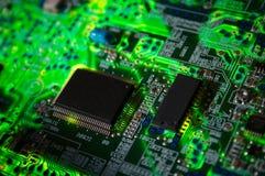 Panneau électronique vert Photos libres de droits