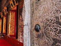 Panneau antique de porte, perles décorées Photos stock
