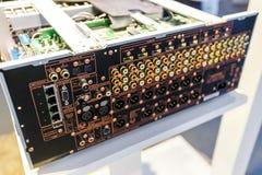 Panneau arrière d'amplificateur audio Photographie stock libre de droits