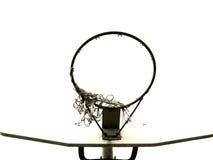 Panneau arrière de basket-ball, cercle et filet déchiré en lambeaux Photo libre de droits