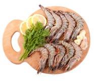 Panneau avec des crevettes roses de tigre Photographie stock