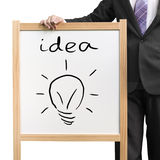Panneau blanc en bois de prise d'homme d'affaires avec l'idée de mot et le blub d'éclairage de dessin Photographie stock libre de droits
