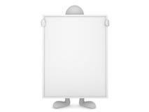 panneau blanc retenant l'homme énorme Images libres de droits