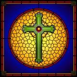 Panneau carré croisé chrétien en verre souillé Photos stock