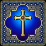 Panneau croisé chrétien de fenêtre en verre souillé Image libre de droits