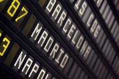 Panneau d'aéroport Photos libres de droits