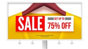 Panneau d'affichage avec l'offre de la vente Levez-vous à 75 pour cent outre de la remise Photo stock