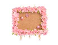 Panneau d'affichage avec la fleur rose Images libres de droits