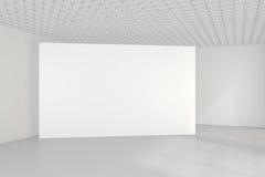 Panneau d'affichage blanc vide dans l'intérieur simple rendu 3d Photos stock