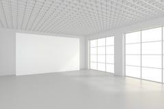Panneau d'affichage blanc vide dans l'intérieur simple rendu 3d Photos libres de droits