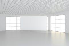 Panneau d'affichage blanc vide dans l'intérieur simple rendu 3d Images stock