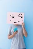 Panneau d'affichage d'expression de sourire de participation d'homme image libre de droits