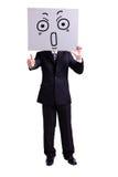 Panneau d'affichage d'expression de surprise de participation d'homme d'affaires images stock