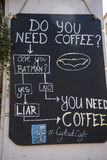 Panneau d'affichage de café dans Kazimierz District à Cracovie Pologne Image libre de droits