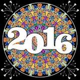 Panneau d'affichage de partie de la nouvelle année 2016 avec le mandala pie de mosaïque sur le fond noir illustration de vecteur