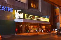 Panneau d'affichage de Penn et de caissier à New York Image libre de droits