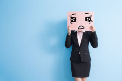 Panneau d'affichage de prise de femme d'affaires Photo libre de droits