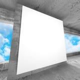 Panneau d'affichage de publicité sur la pièce concrète inempty de mur rouillé Image libre de droits