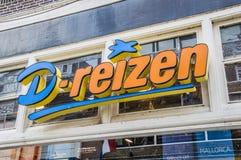 Panneau d'affichage de D-Reizen chez Weesp les Pays-Bas photographie stock libre de droits