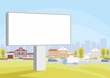 Panneau d'affichage et maisons de campagne Photo stock