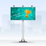 Panneau d'affichage extérieur avec la tasse de gagnants Image libre de droits