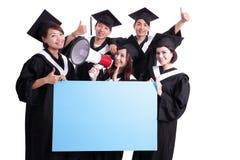 Panneau d'affichage heureux d'exposition d'étudiant de diplômés illustration libre de droits