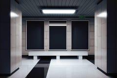 Panneau d'affichage noir vide dans le passage souterrain illustration stock