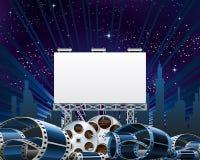 Panneau d'affichage pour l'exposition de première de film Photographie stock libre de droits