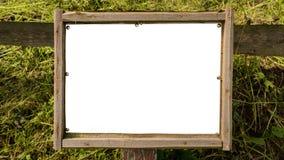 Panneau d'affichage rustique vide avec le cadre en bois image stock