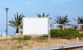Panneau d'affichage sur le fond des palmiers Photo libre de droits
