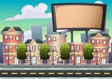 Panneau d'affichage urbain de vecteur de bande dessinée avec des couches séparées pour le jeu et l'animation illustration stock