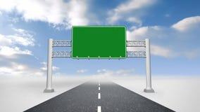Panneau d'affichage vert contre le ciel bleu illustration de vecteur