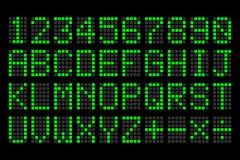 Panneau d'affichage vert de lettres et de nombres de Digital Photo libre de droits