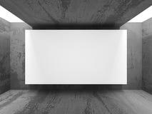 Panneau d'affichage vide de bannière sur le mur en béton Photo libre de droits