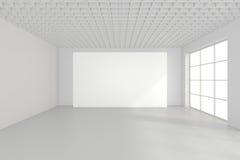 Panneau d'affichage vide horizontal dans la chambre blanche rendu 3d Images libres de droits